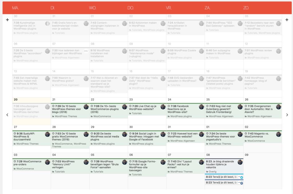 Contentkalender van Nelio Content