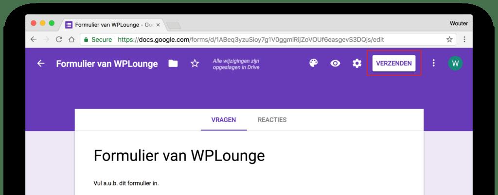 Google Forms formulier verzenden