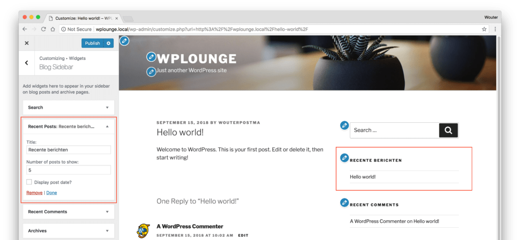 Widgets bewerken in de WordPress Customizer