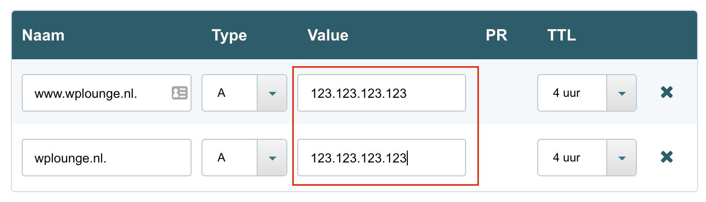 DNS records aanpassen