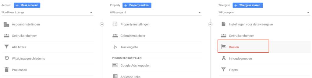 Doelen Google Analytics