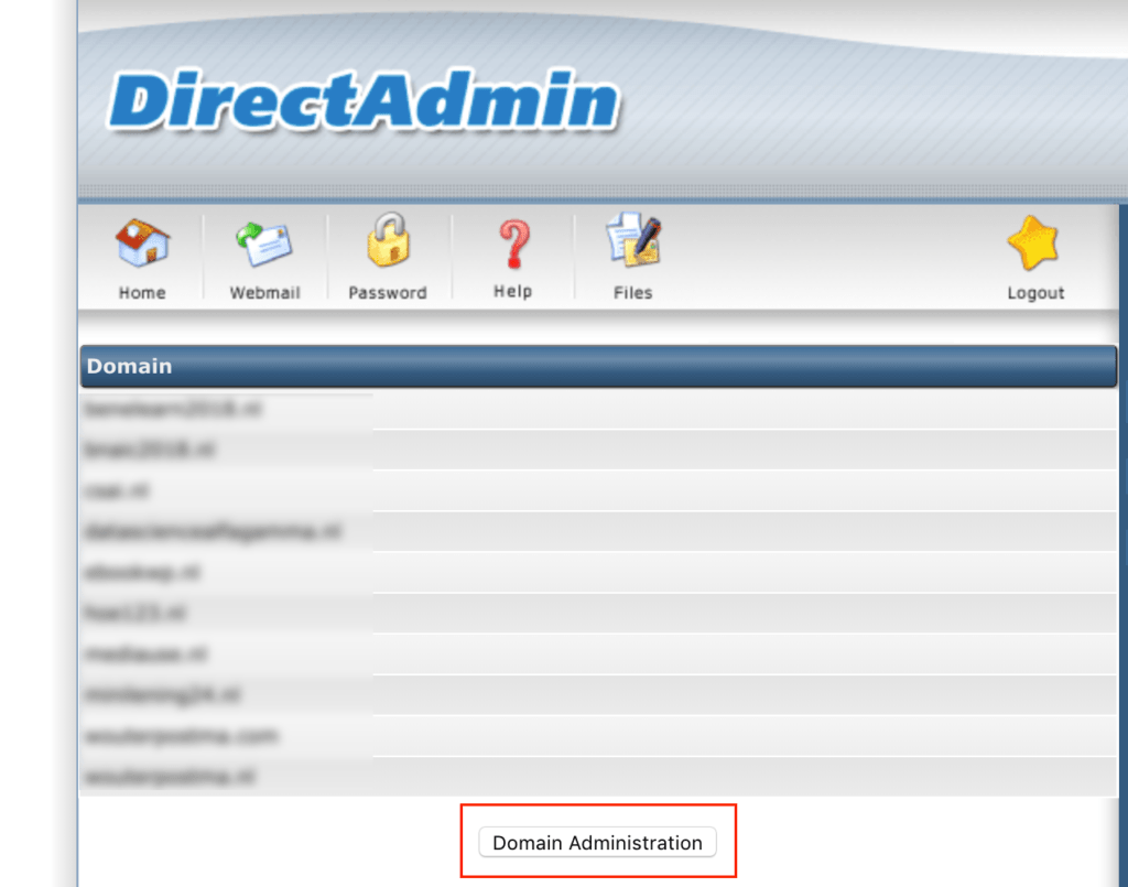 Domain Administration DirectAdmin
