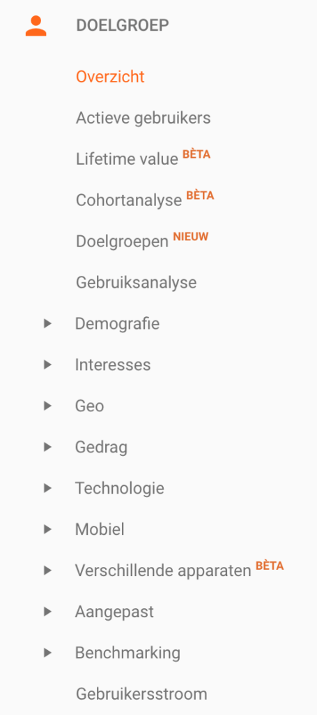 Google Analytics Doelgroep-rapporten