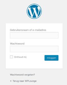 Inloggen in WordPress admin omgeving