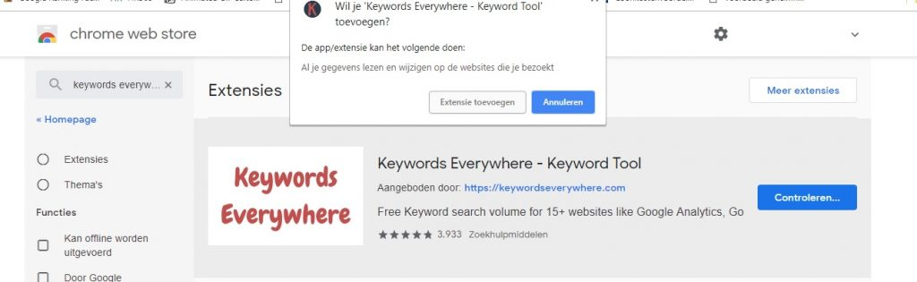 Keyword Everywhere Extensie
