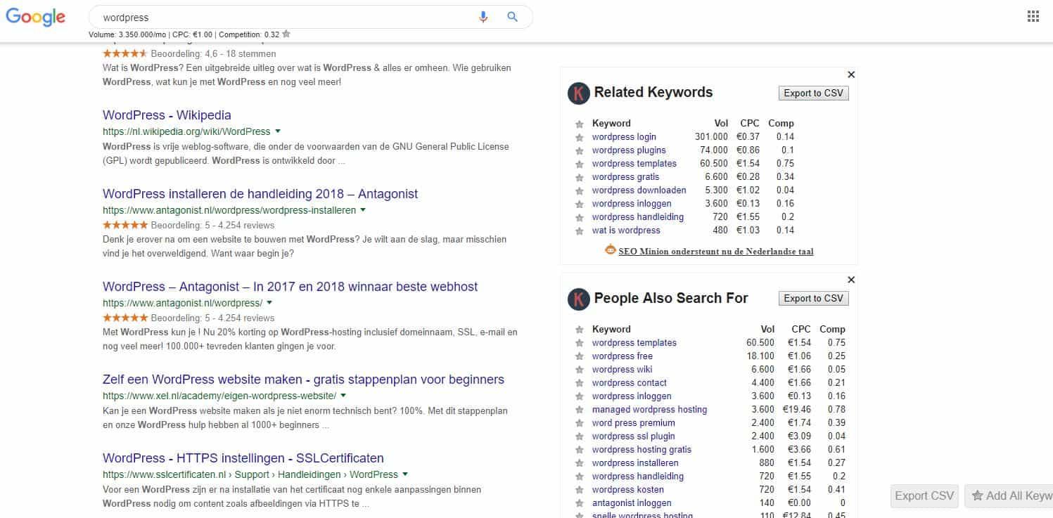Keywords everywere gerelateerde zoekopdrachten