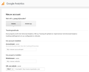 Nieuw Google Analytics account