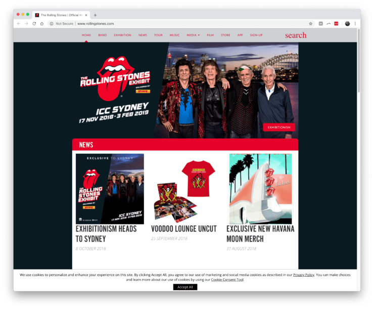 Rolling Stones WordPress website