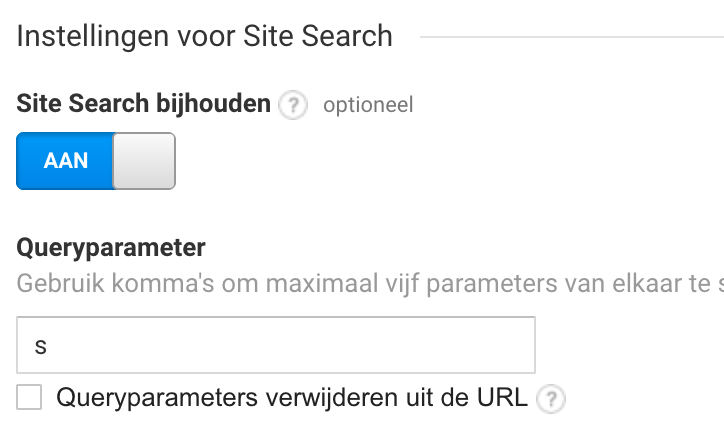 Site Search bijhouden Google Analytics