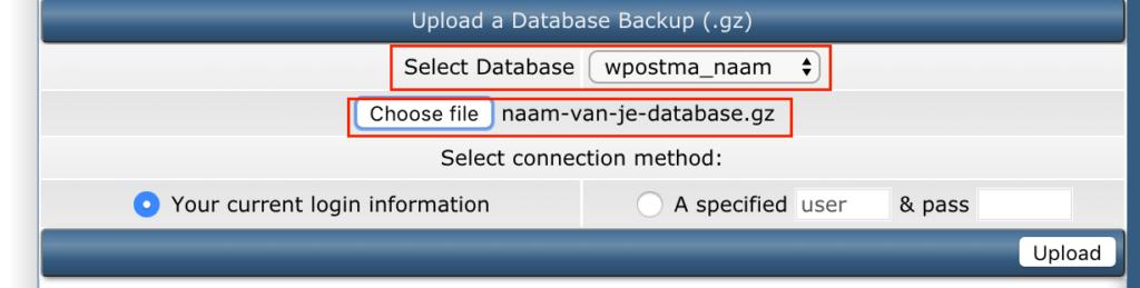 Upload database DirectAdmin