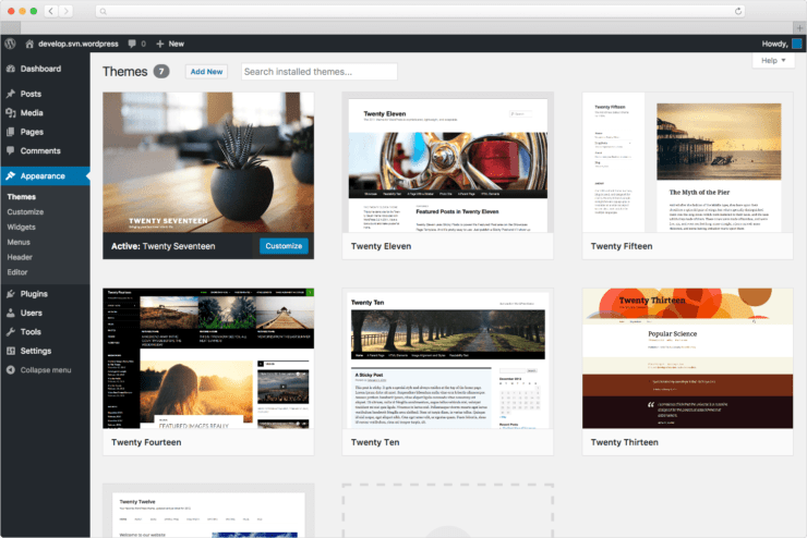 WordPress admin omgeving