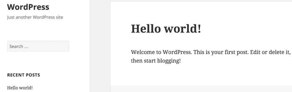 Hello World standaardbericht WordPress