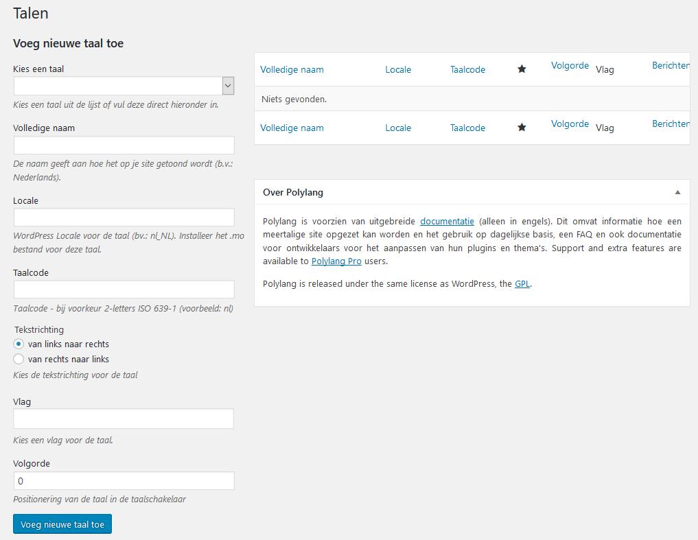 Polylang instellingen in WordPress