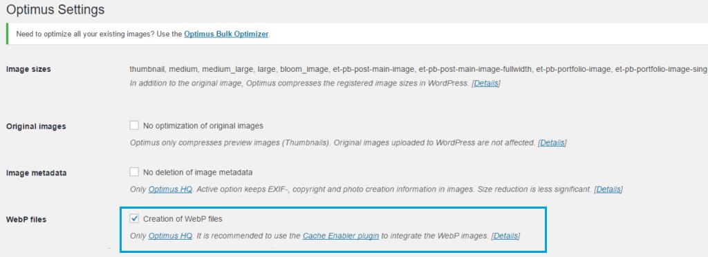 Converteren van de afbeeldingen naar WebP in Optimus HQ,