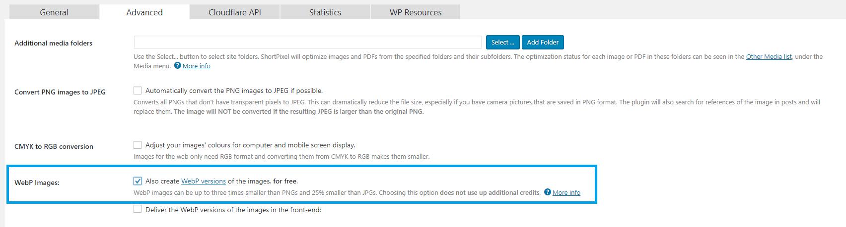 Via het tabblad advanced kun je in ShortPixel afbeeldingen omzetten naar WebP.