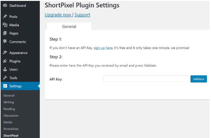 Activeren van de ShortPixel plug-in gebeurd via een API key