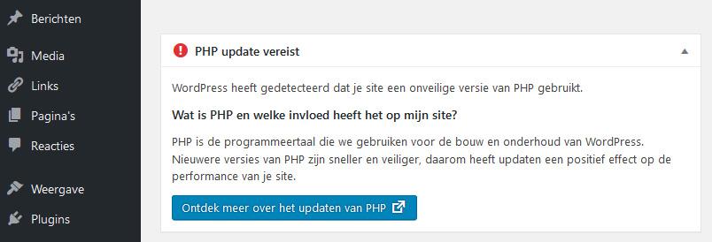 WordPress 5.1 PHP-waarschuwing