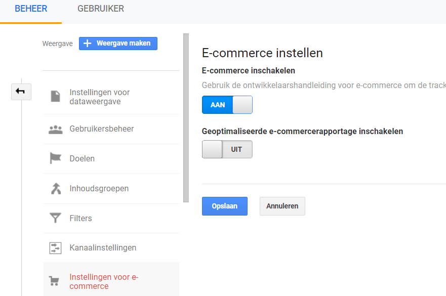 E-commerce instellen Analytics