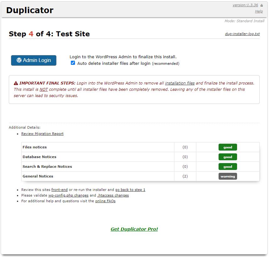 Duplicator stap 4 van 4