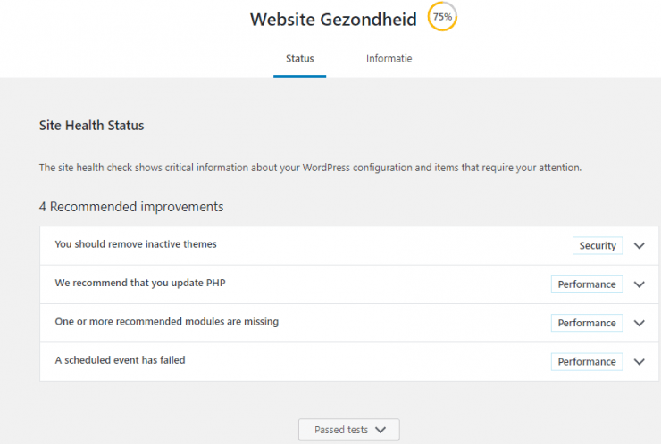 Website gezondheid Wordpress website