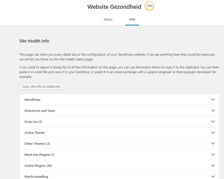 Website gezondheid WordPress website info