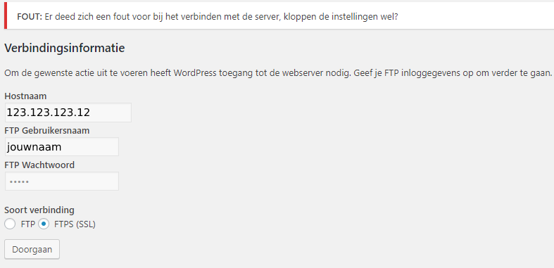 Foutmelding FTP server