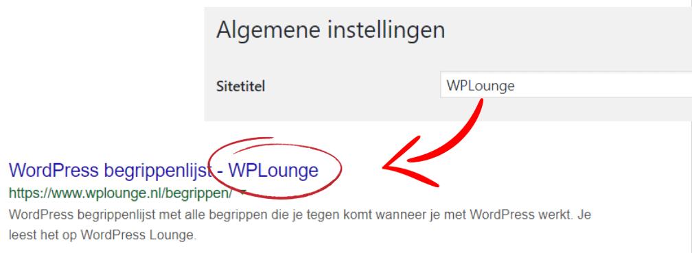 Website titel wordt overgenomen als toevoeging in title tag.