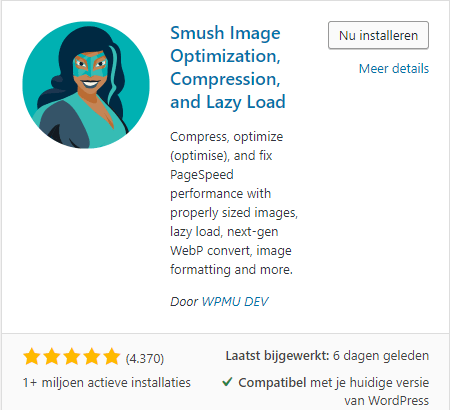 WP Smush installeren in WordPress