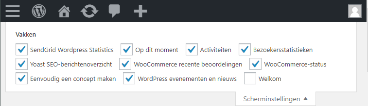 WooCommerce scherminstellingen