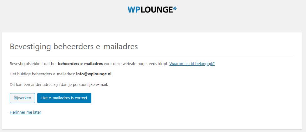 Bevestig beheerders e-mailadres bij inloggen in WP