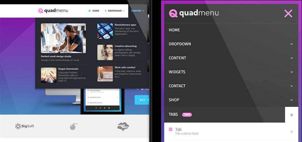 QuadMenu menu plugin voor WordPress
