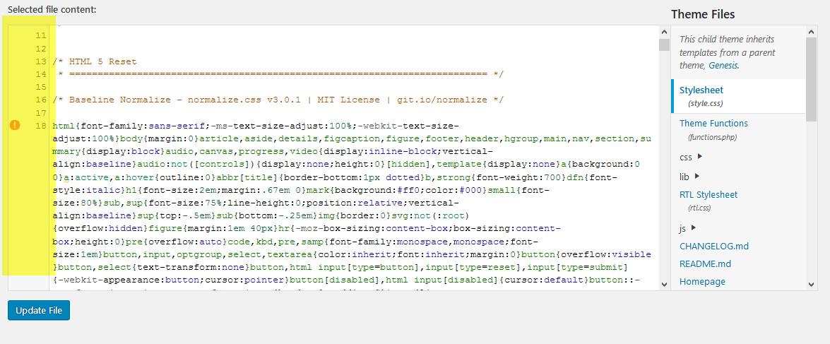Syntaxmarkeringen in de Stylesheet (style.css)