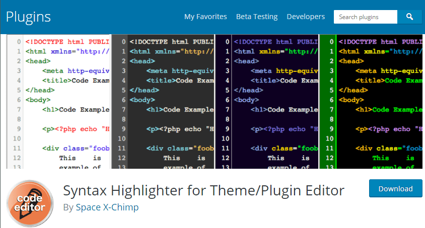 Syntax Highlighter for Theme en Plugin Editor