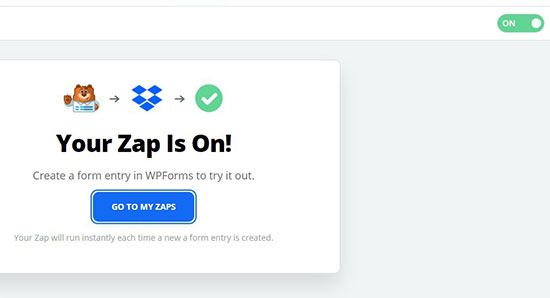 Your Zap is on!