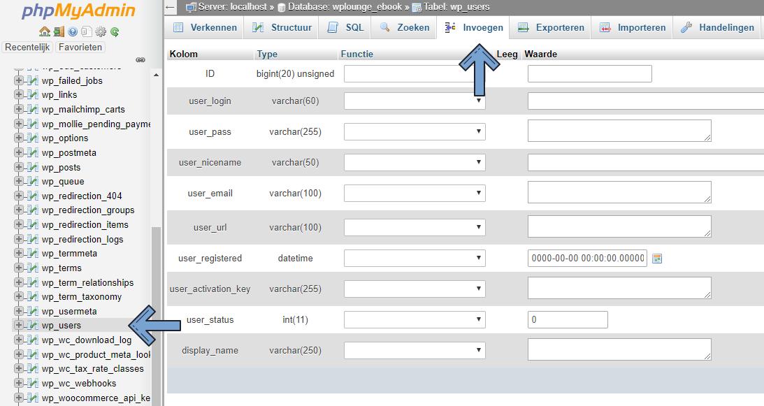 wp_users in phpMyAdmin