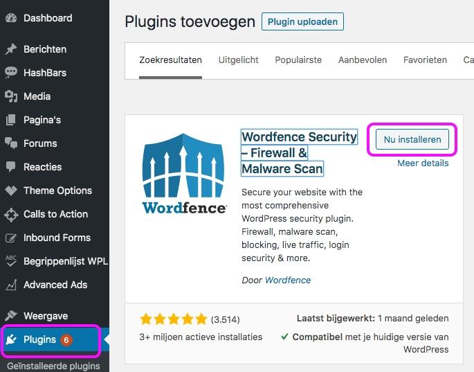 Wordfence plugin installeren