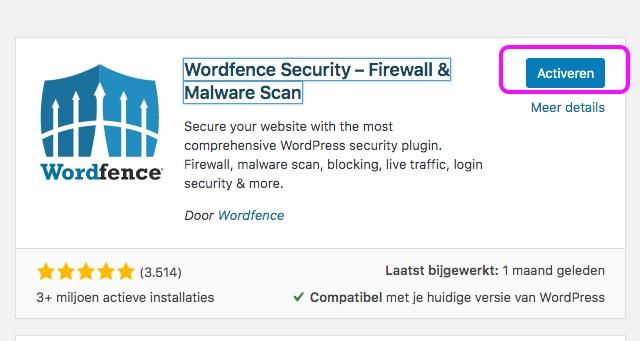 Wordfence plugin activeren