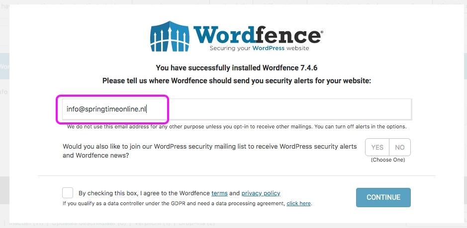 Wordfence email voor alerts invoeren