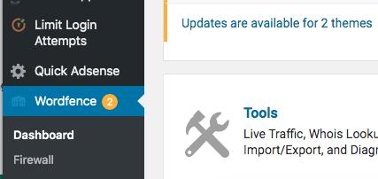 Wordfence tab klik voor dashboard