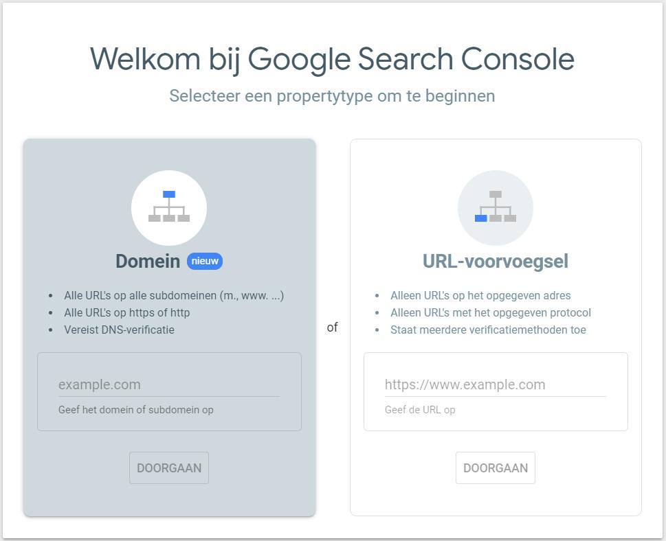 Google Search Console verificatie