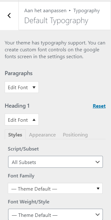 Lettertype aanpassen in de WordPress Customizer