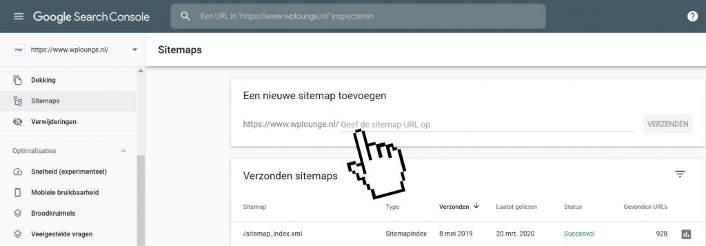 Nieuwe sitemap toevoegen in Search Console