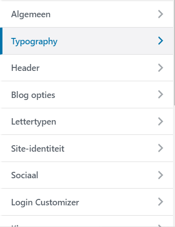 WordPress Customizer Typography