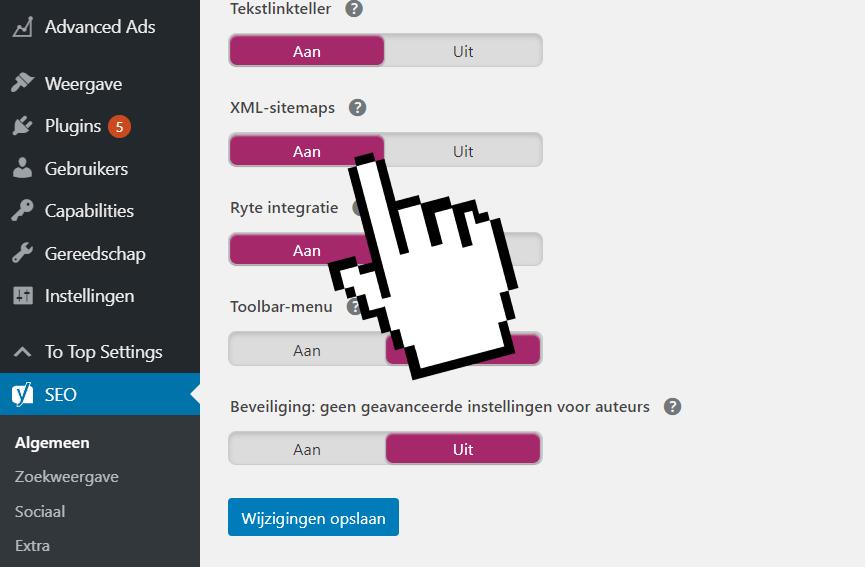 XML sitemap aanmaken met de Yoast Plugin (1)