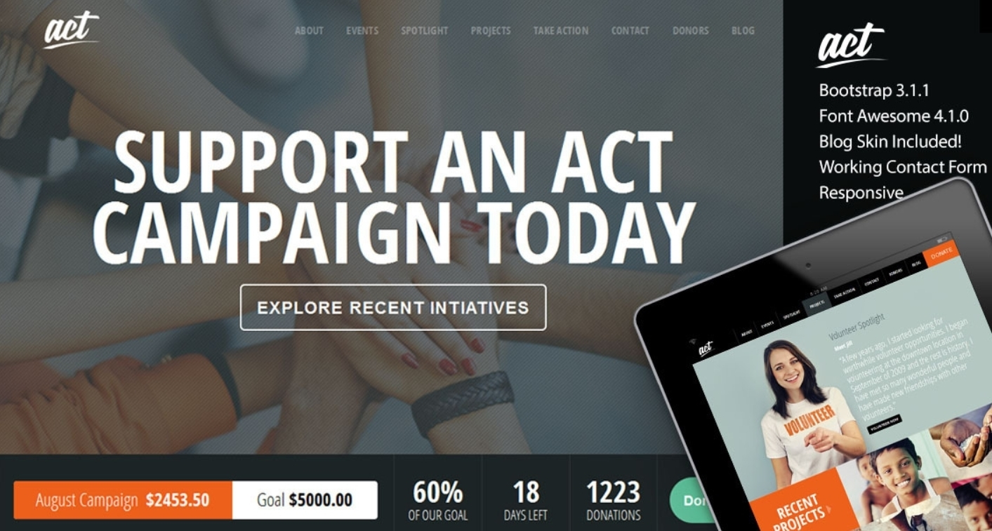 Act - Crowdfunding template voor WordPress