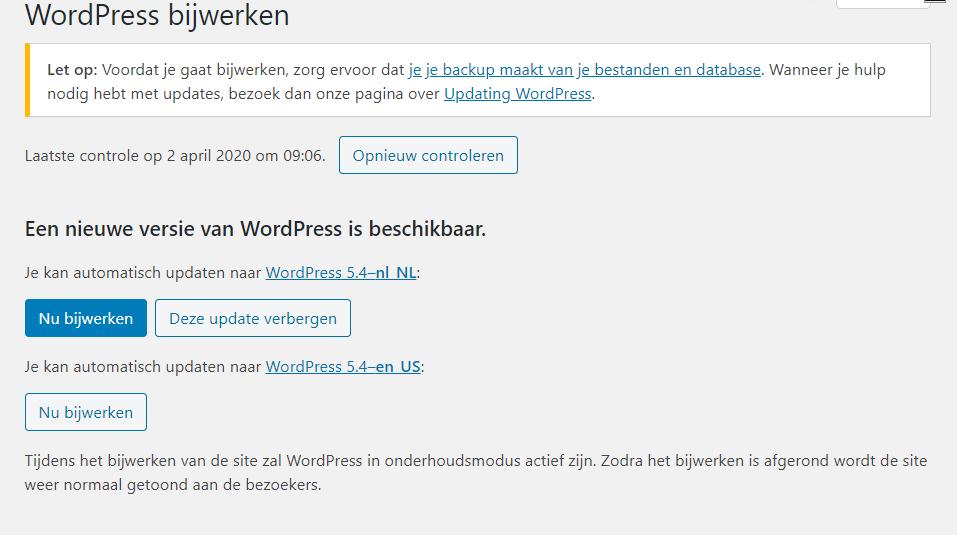 Backup maken voor de grote update naar WordPress 5.4