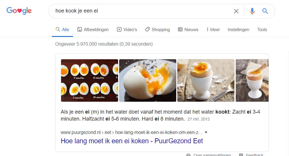 Hoe kook je een ei - instructiesnippet in Google