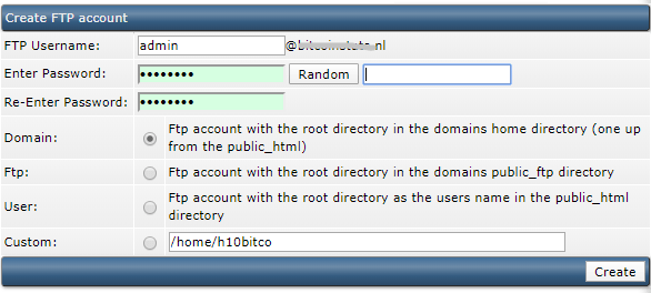 DirectAdmin FTP Account