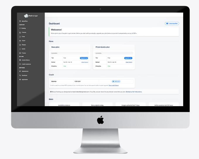 Dashboard van de Instant Design Tool