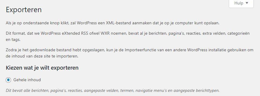 WordPress Exporteren